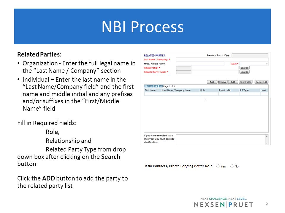 NBI Process Related Parties: