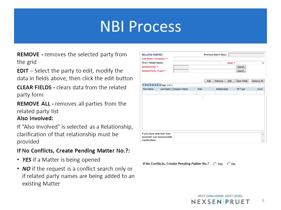 NBI Process REMOVE - removes the selected party from the grid