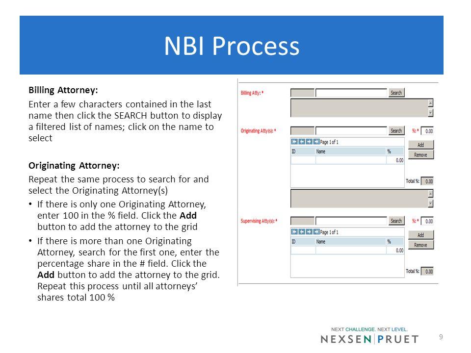NBI Process Billing Attorney: