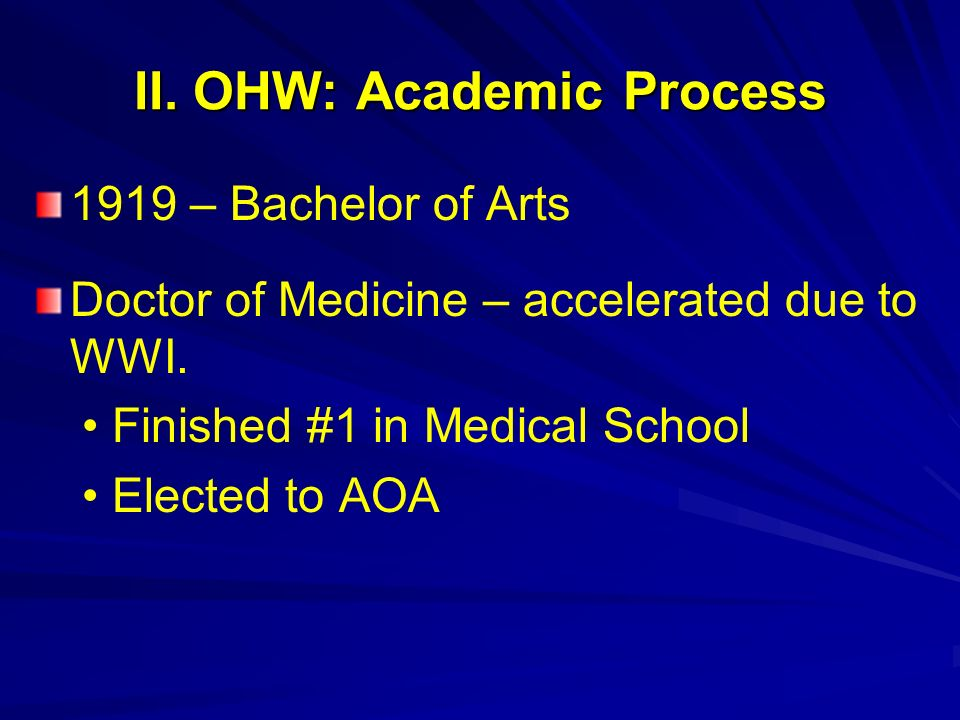 II. OHW: Academic Process