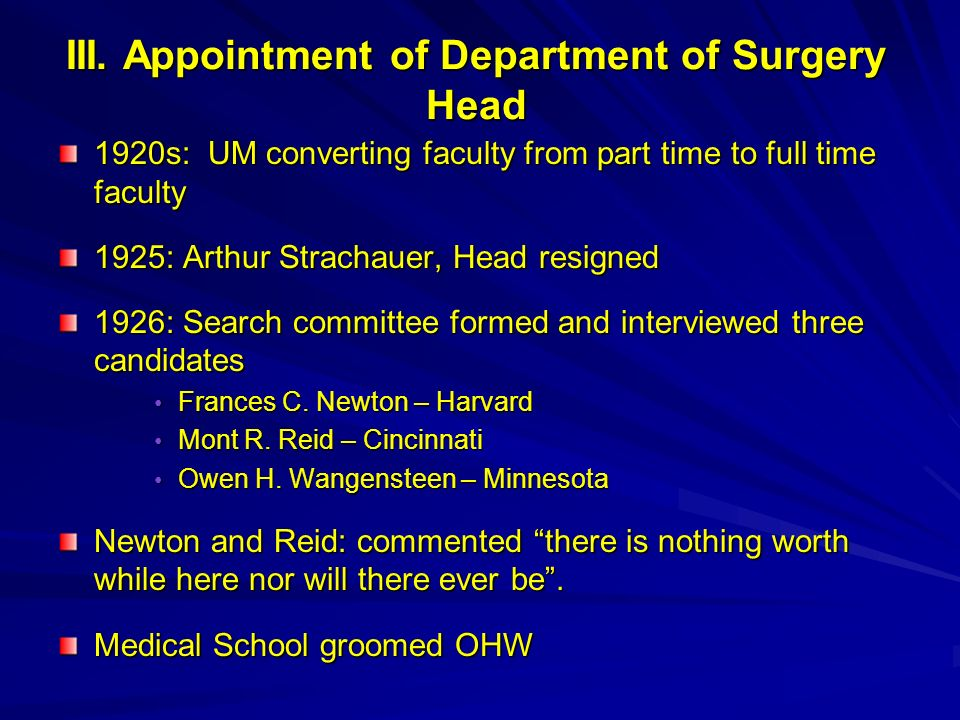 III. Appointment of Department of Surgery Head