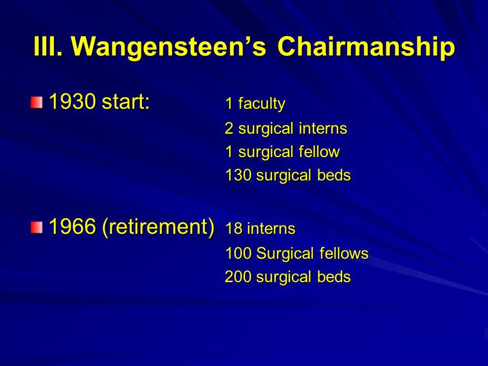 III. Wangensteen's Chairmanship