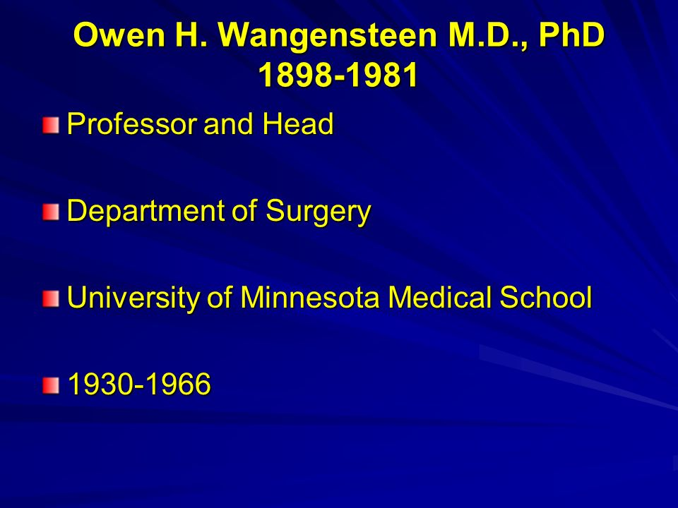 Owen H. Wangensteen M.D., PhD 1898-1981