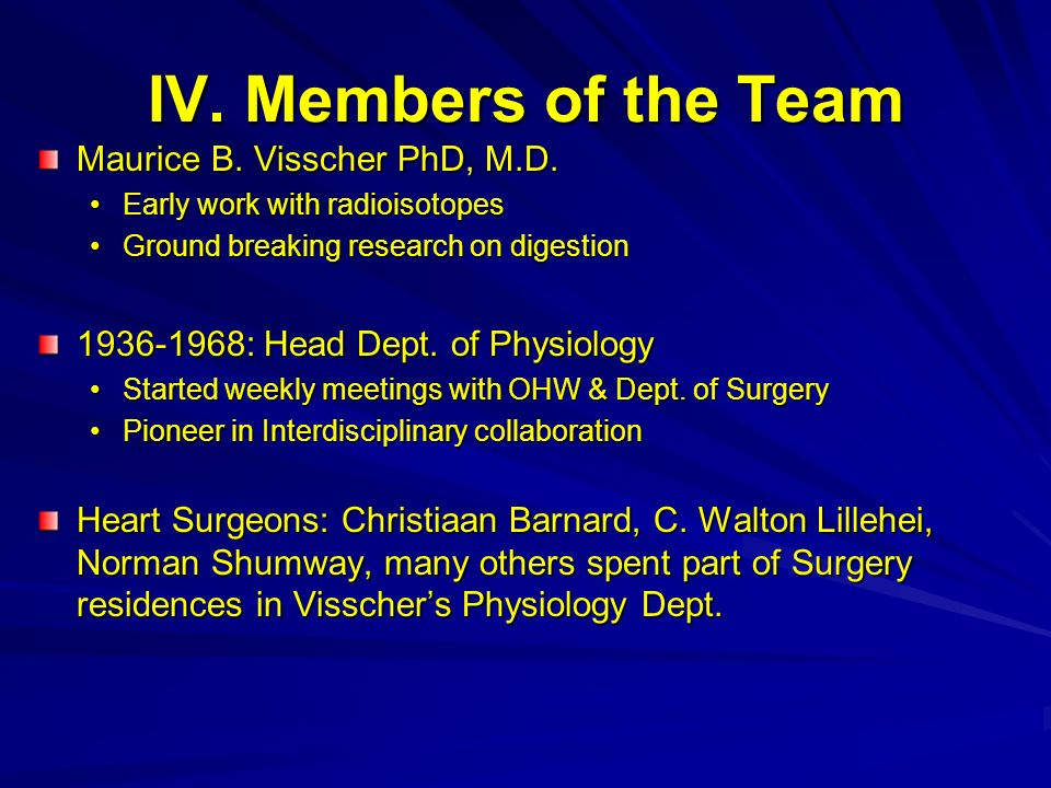 IV. Members of the Team Maurice B. Visscher PhD, M.D.