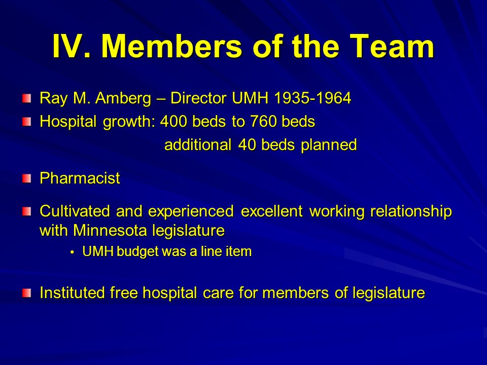 IV. Members of the Team Ray M. Amberg – Director UMH 1935-1964