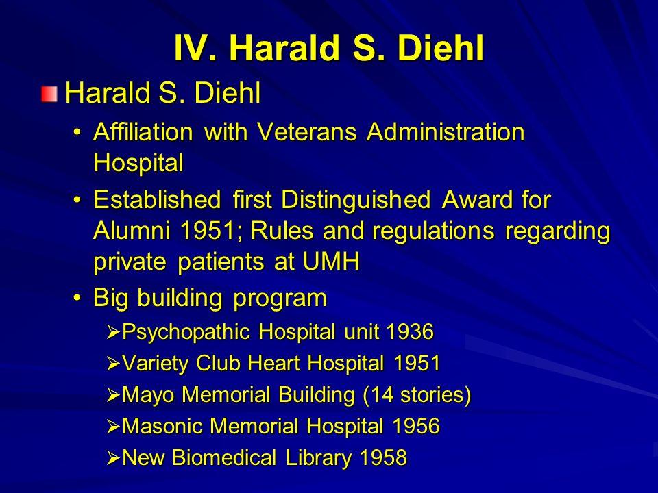 IV. Harald S. Diehl Harald S. Diehl