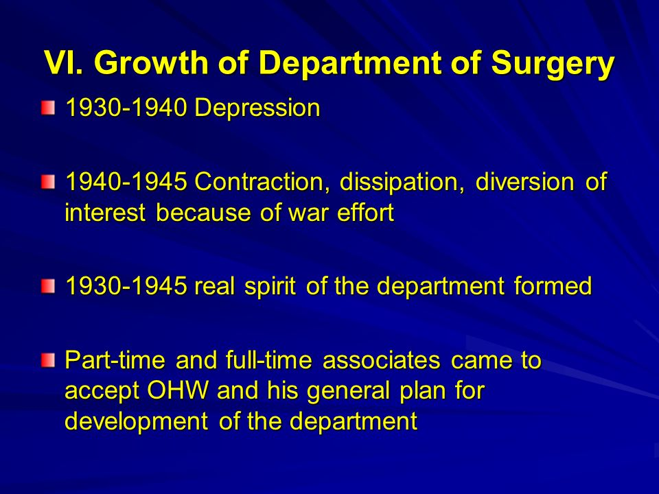 VI. Growth of Department of Surgery