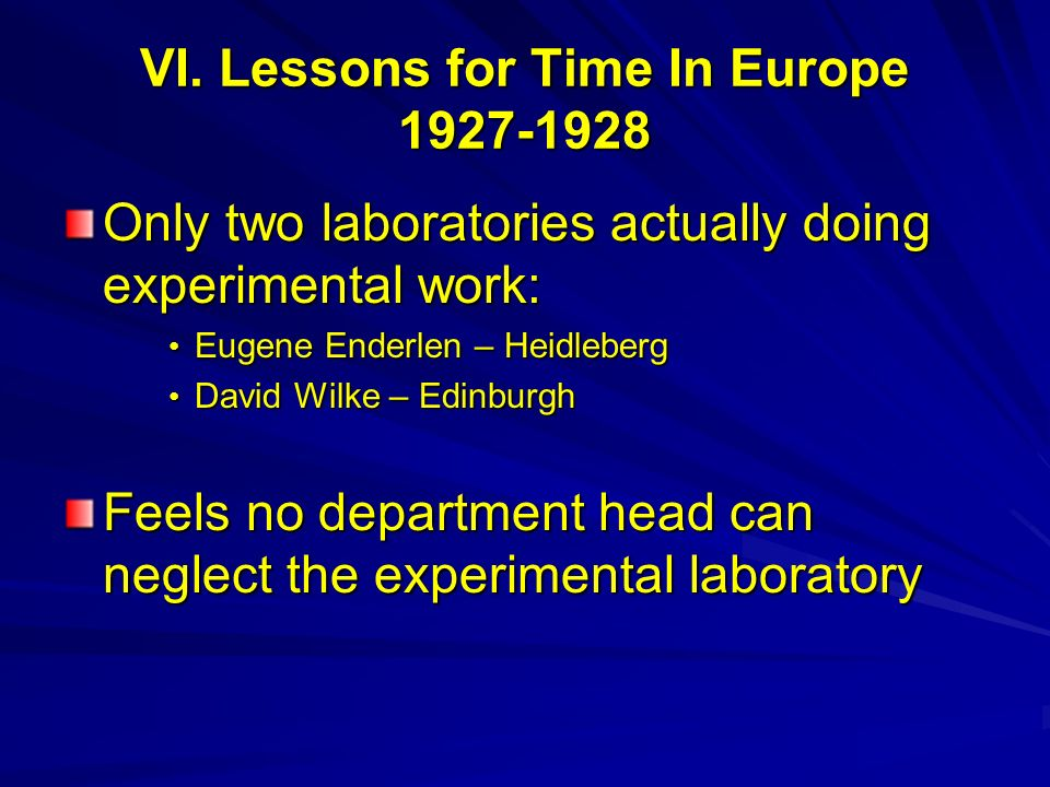 VI. Lessons for Time In Europe 1927-1928