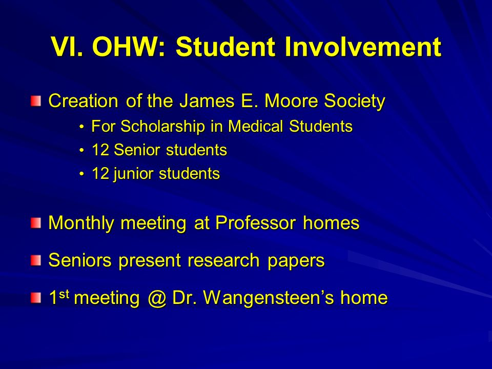 VI. OHW: Student Involvement