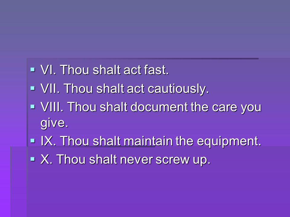 VI. Thou shalt act fast. VII. Thou shalt act cautiously. VIII. Thou shalt document the care you give.