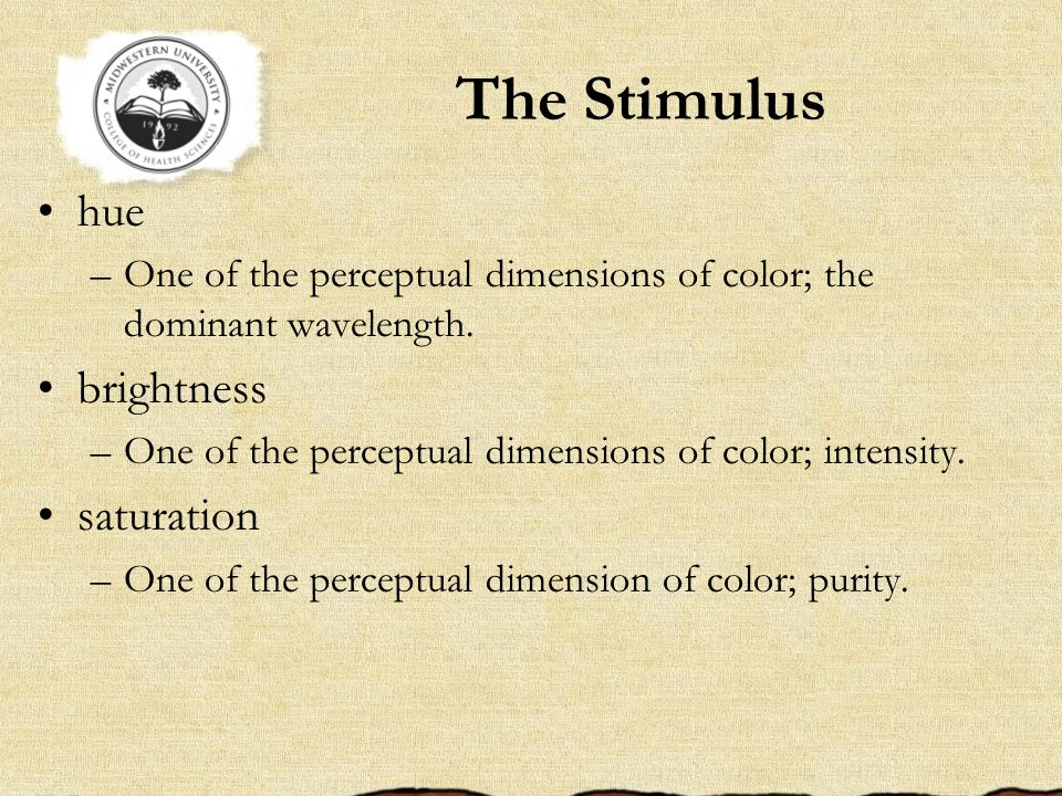 The Stimulus hue brightness saturation
