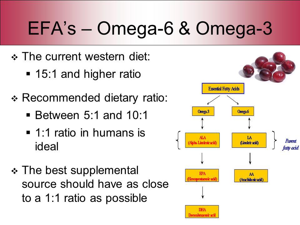 EFA's – Omega-6 & Omega-3 The current western diet: