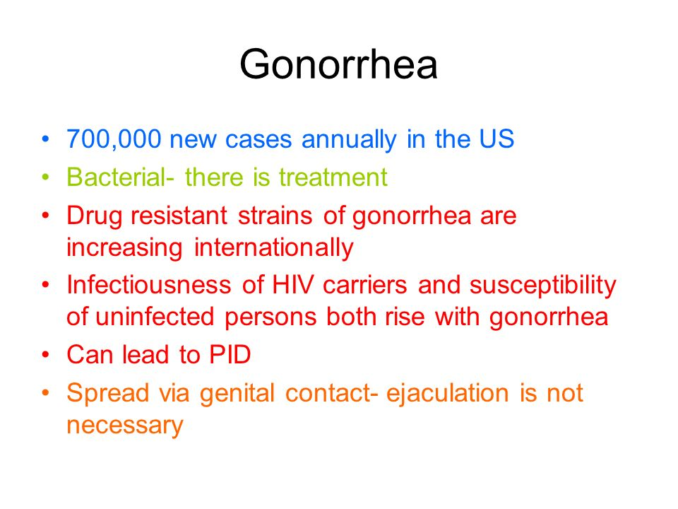Gonorrhea 700,000 new cases annually in the US