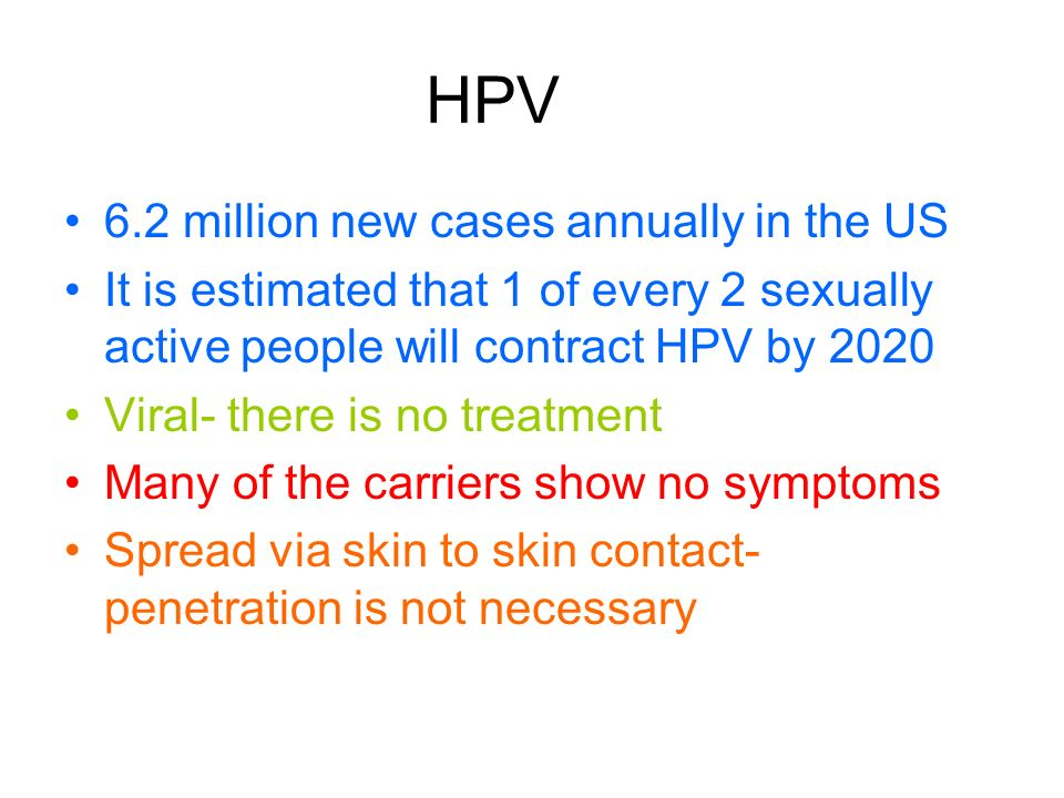 HPV 6.2 million new cases annually in the US