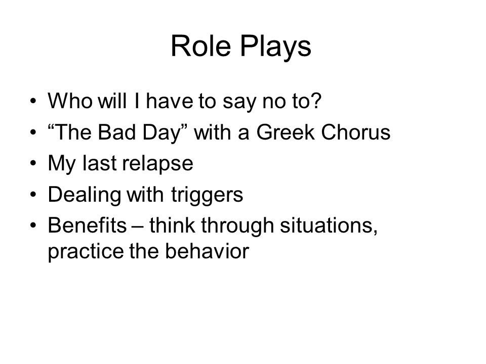 Role Plays Who will I have to say no to