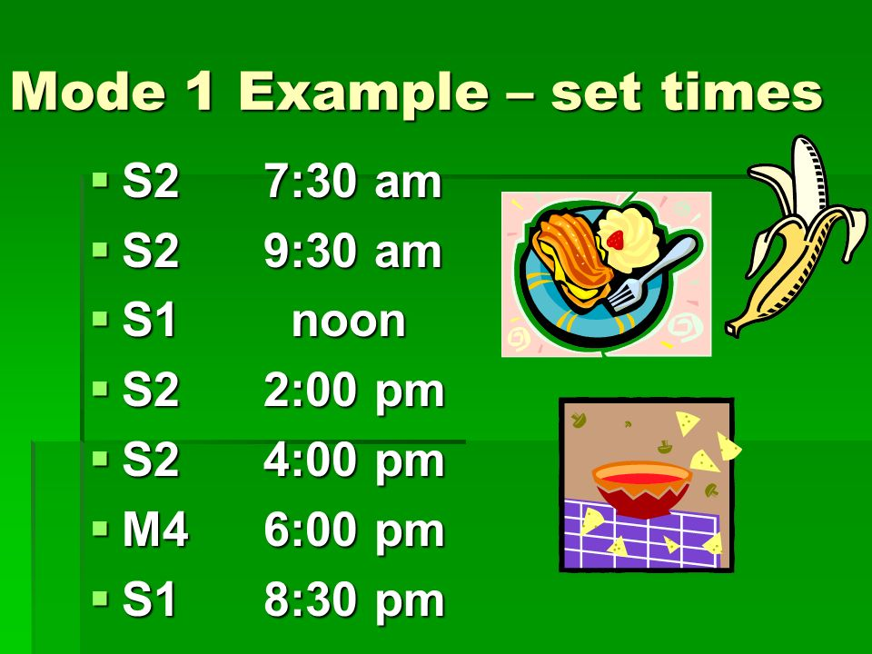 Mode 1 Example – set times