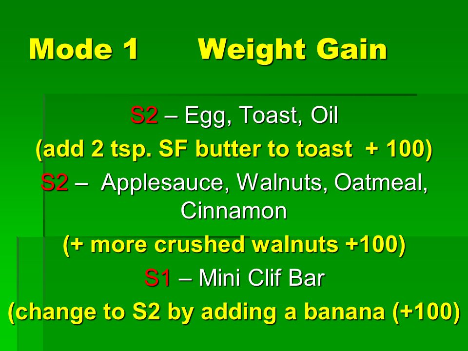 Mode 1 Weight Gain S2 – Egg, Toast, Oil