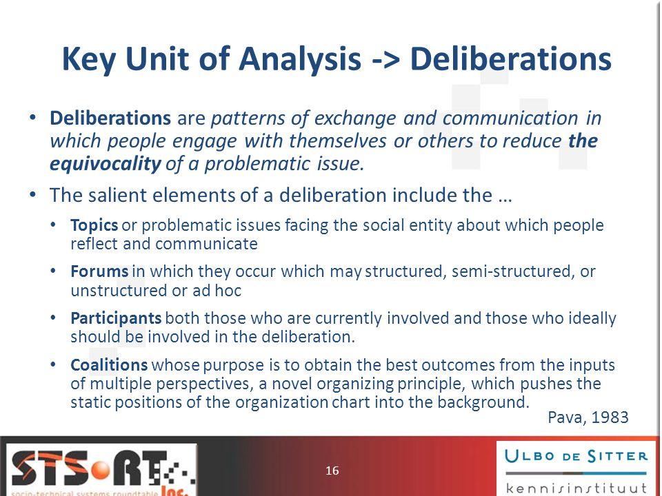 Key Unit of Analysis -> Deliberations