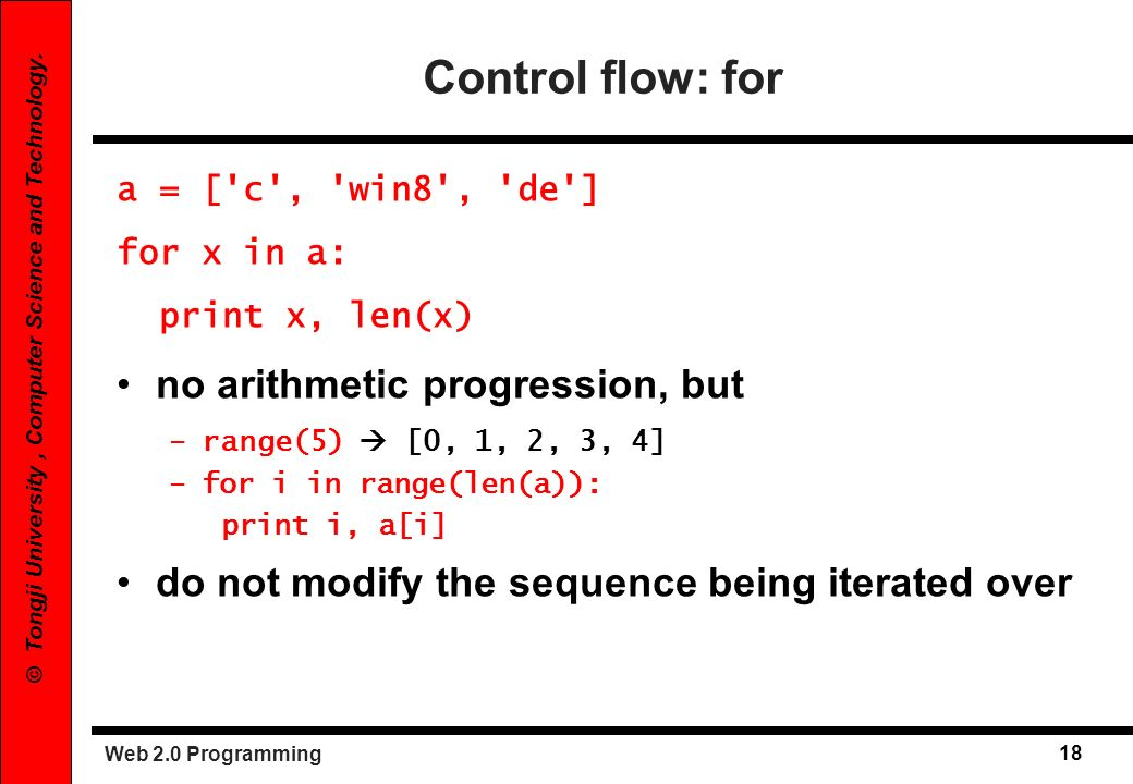 Control flow: for no arithmetic progression, but