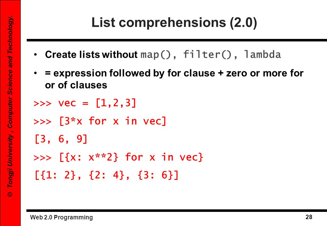 List comprehensions (2.0)