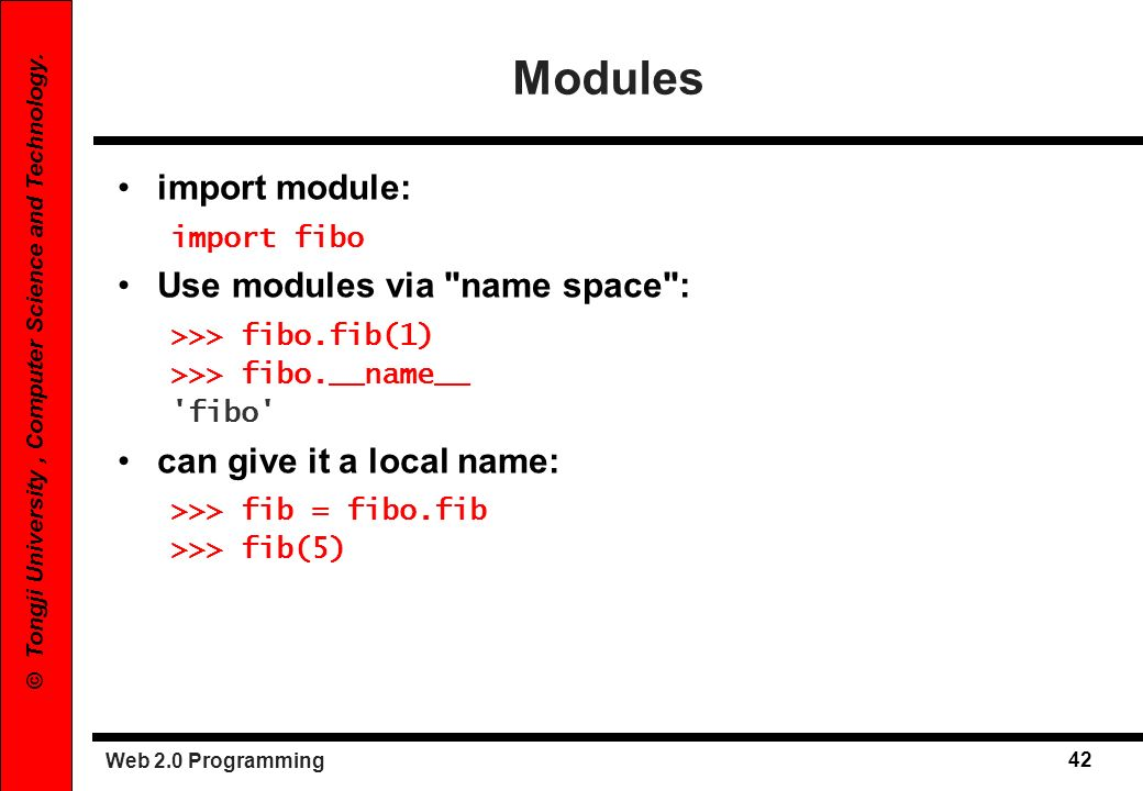 Modules import module: Use modules via name space :