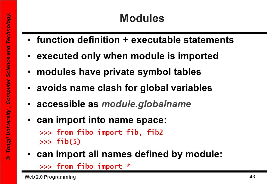 Modules function definition + executable statements