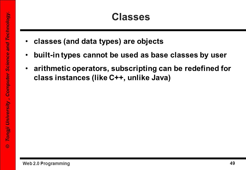 Classes classes (and data types) are objects