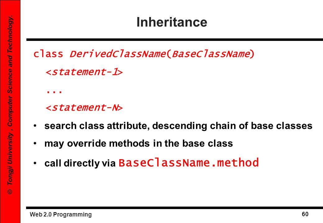 Inheritance class DerivedClassName(BaseClassName) <statement-1>