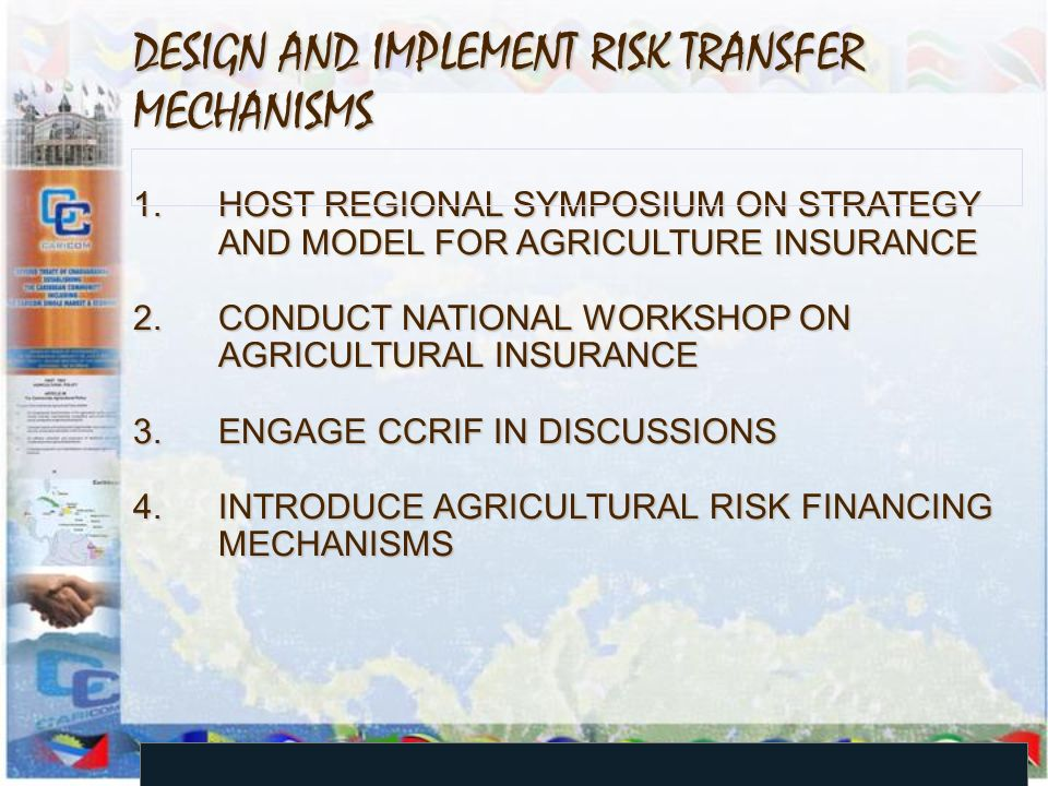 DESIGN AND IMPLEMENT RISK TRANSFER MECHANISMS