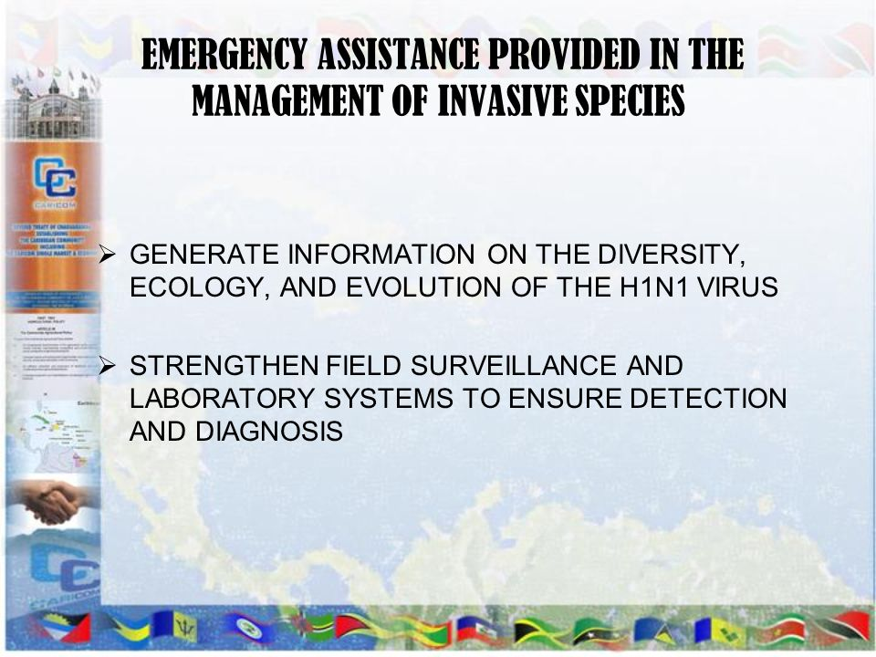 EMERGENCY ASSISTANCE PROVIDED IN THE MANAGEMENT OF INVASIVE SPECIES
