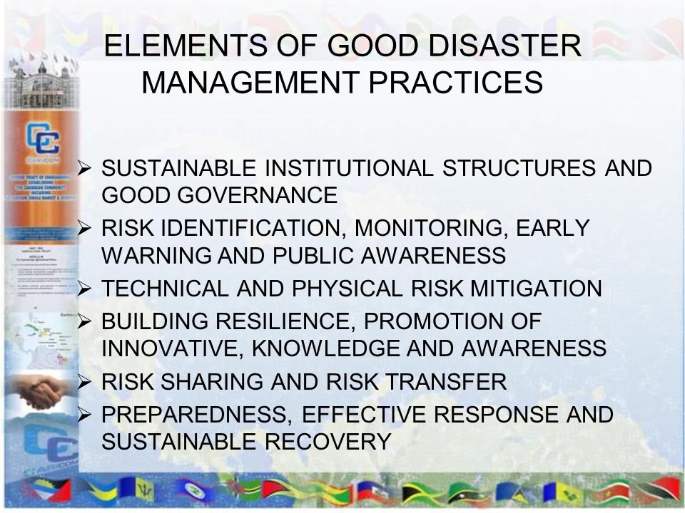 ELEMENTS OF GOOD DISASTER MANAGEMENT PRACTICES