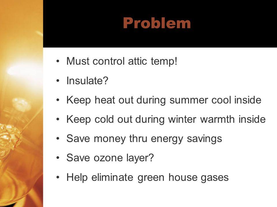 Problem Must control attic temp! Insulate