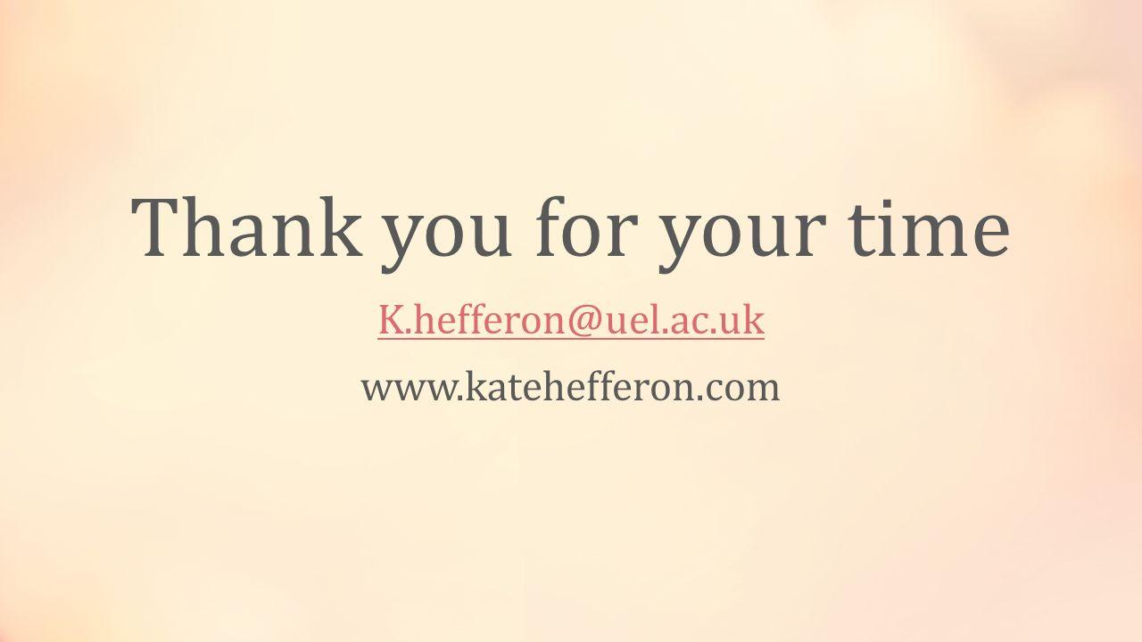 Thank you for your time K.hefferon@uel.ac.uk www.katehefferon.com