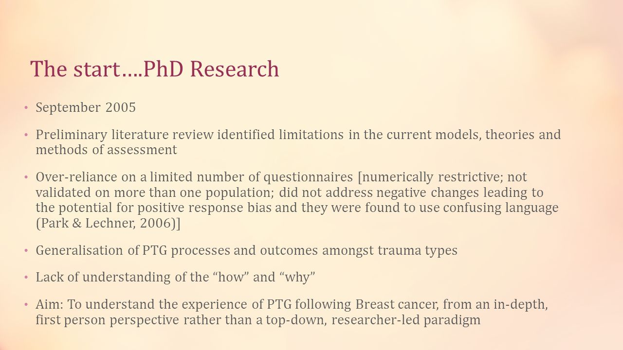 The start….PhD Research