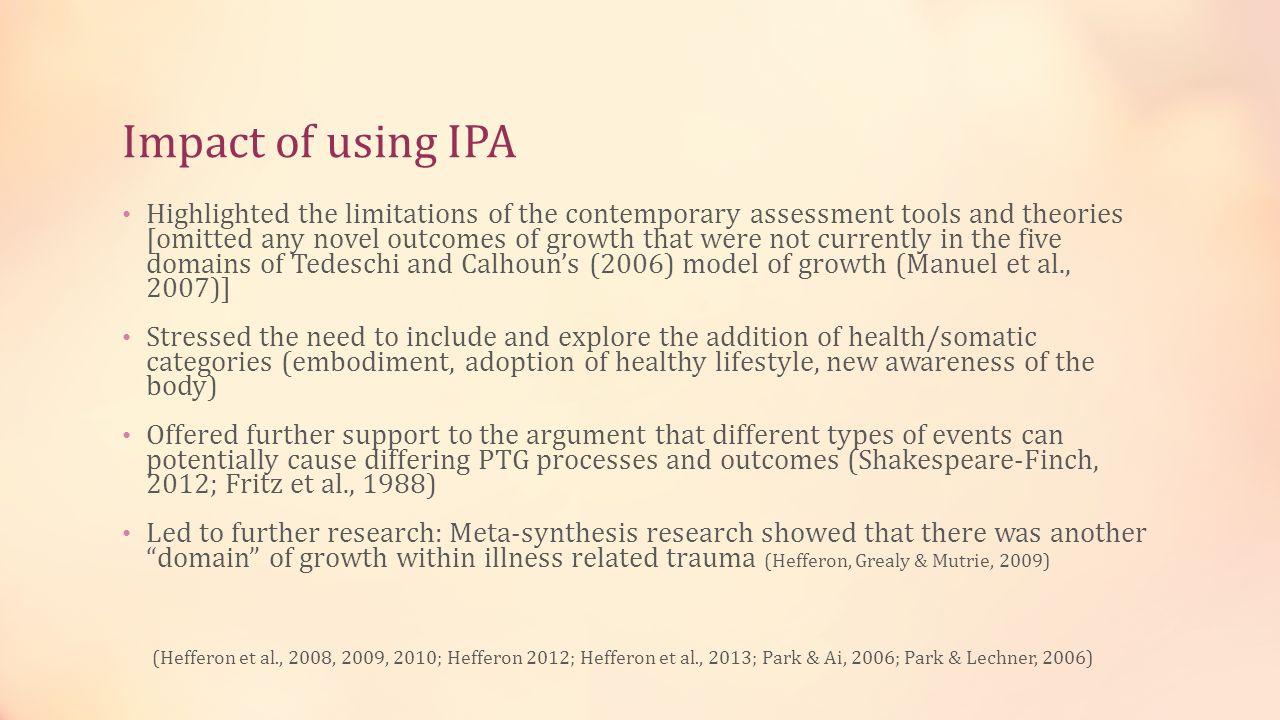 Impact of using IPA