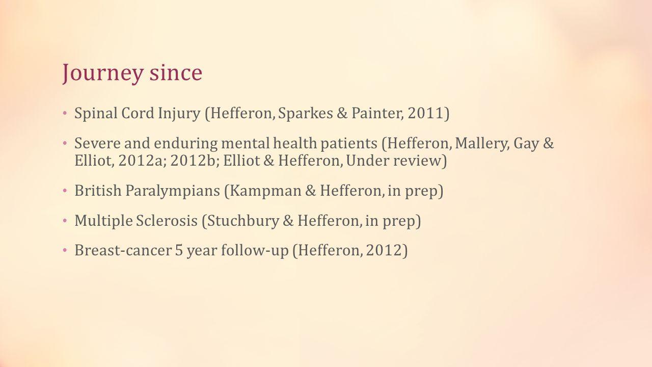 Journey since Spinal Cord Injury (Hefferon, Sparkes & Painter, 2011)