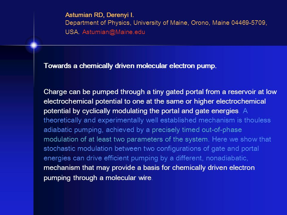 Towards a chemically driven molecular electron pump.