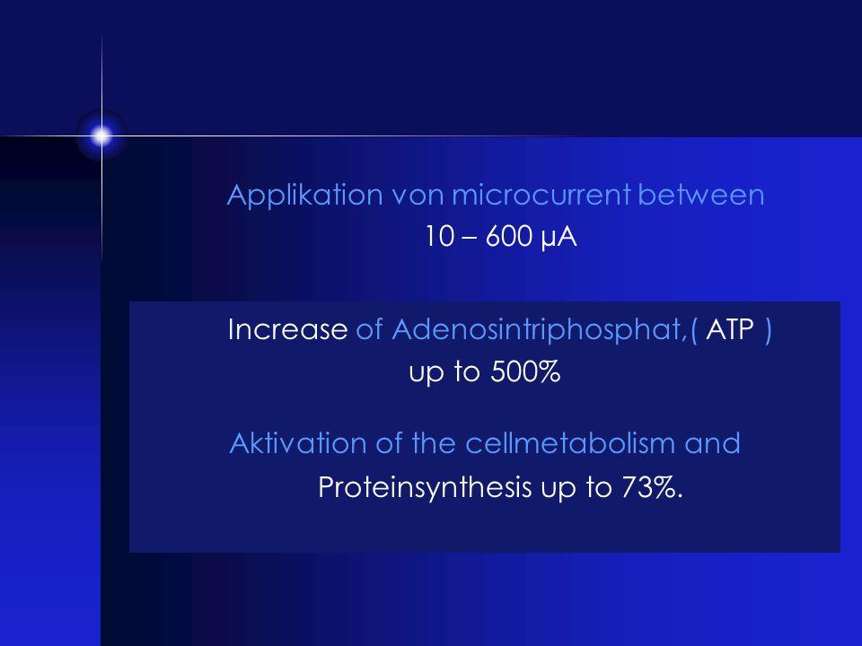 Increase of Adenosintriphosphat,( ATP )