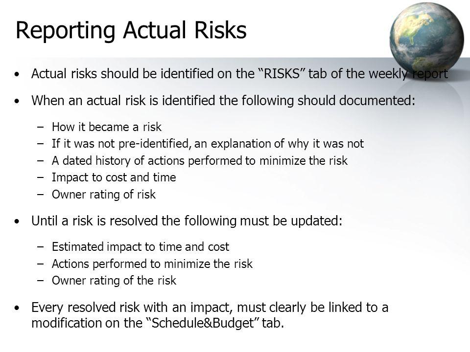 Reporting Actual Risks