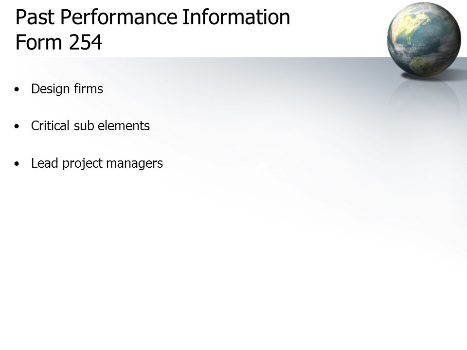 Past Performance Information Form 254