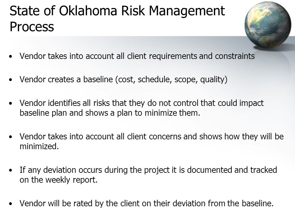 State of Oklahoma Risk Management Process