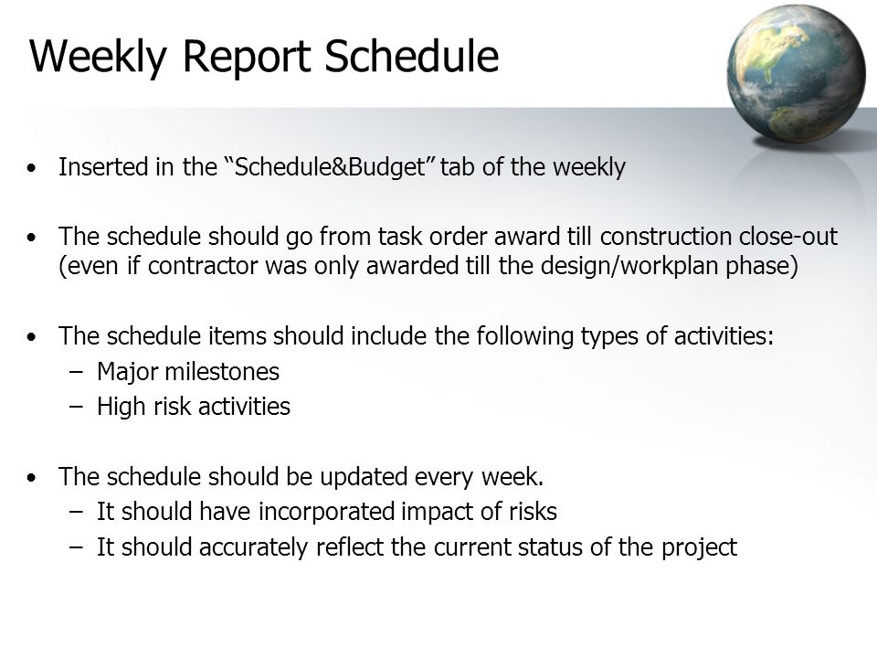 Weekly Report Schedule