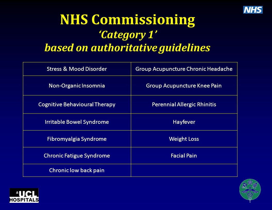 NHS Commissioning 'Category 1' based on authoritative guidelines