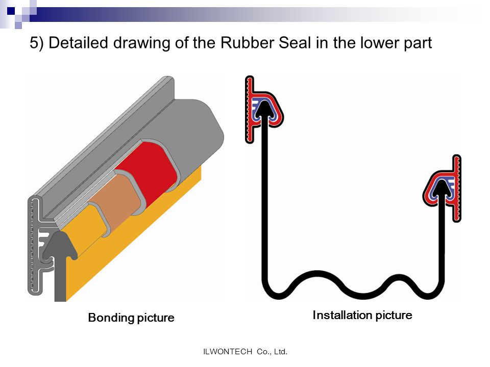 5) Detailed drawing of the Rubber Seal in the lower part