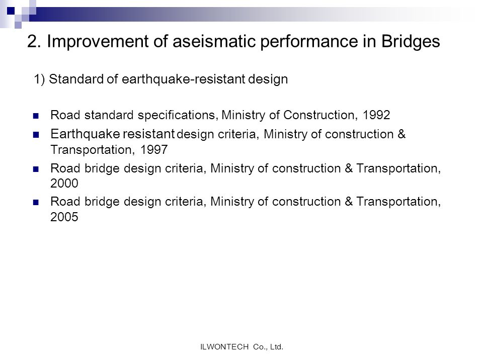 2. Improvement of aseismatic performance in Bridges