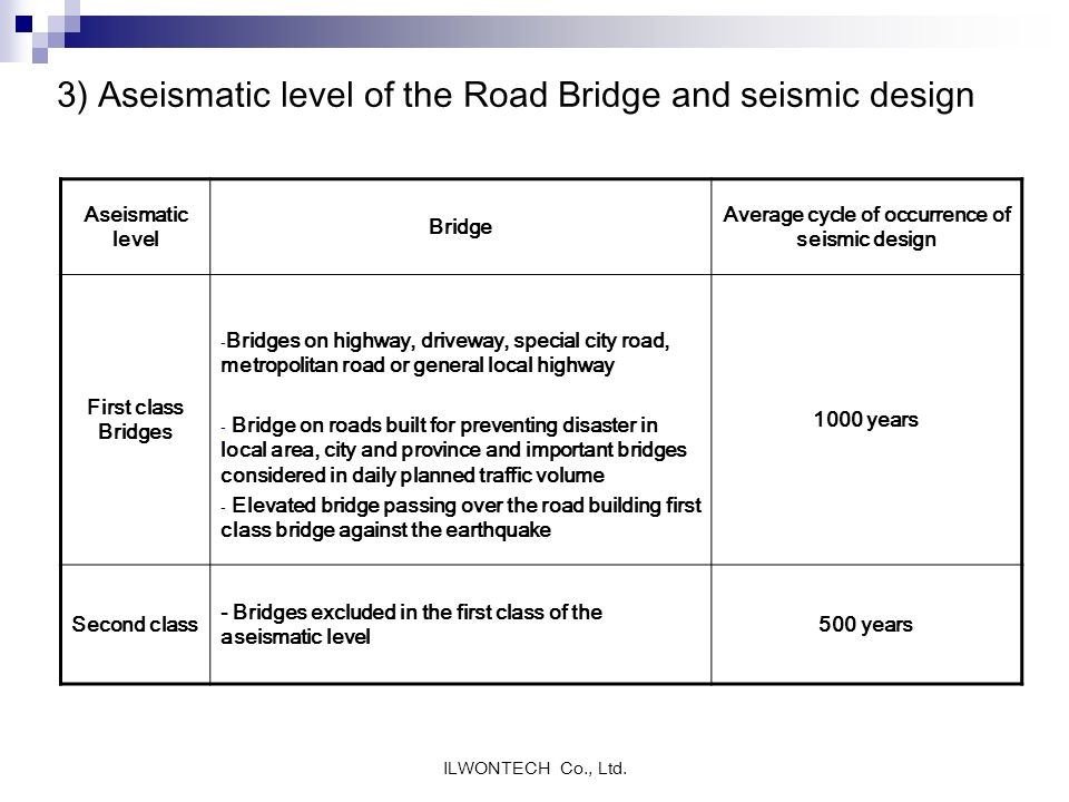 3) Aseismatic level of the Road Bridge and seismic design