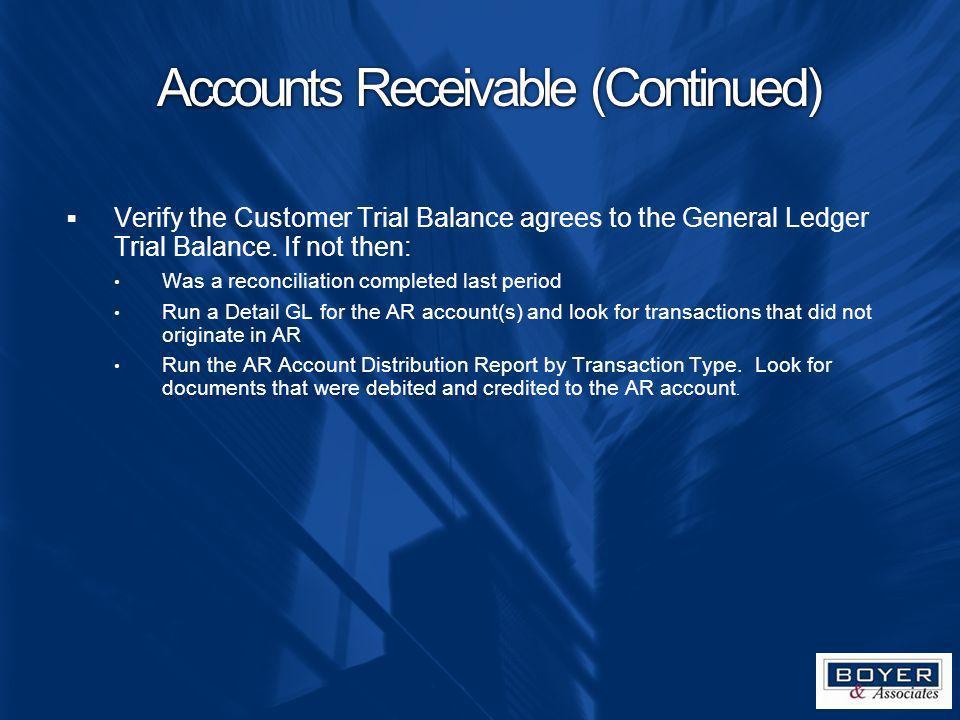 Accounts Receivable (Continued)