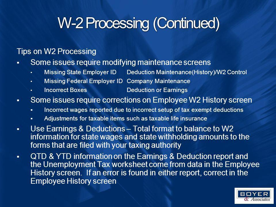 W-2 Processing (Continued)