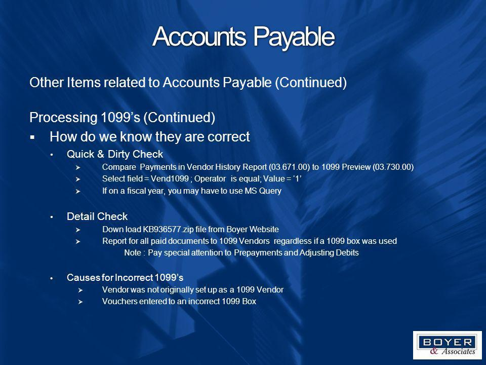Accounts Payable Other Items related to Accounts Payable (Continued)