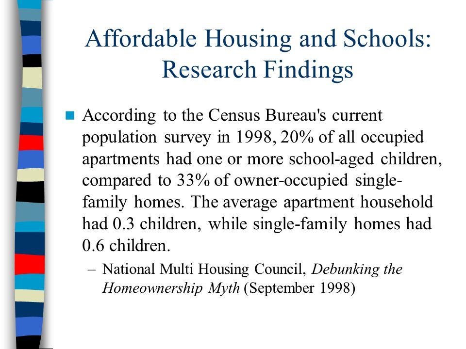 Affordable Housing and Schools: Research Findings
